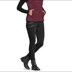 Athleta ponte moto pant leggings black zippers 6